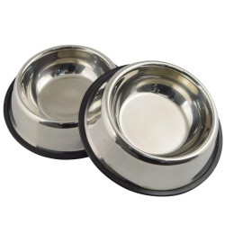 Dorapet Anti Skid Stainless Steel Dog Bowls (400ml X 2) extra Small (Set of 2)