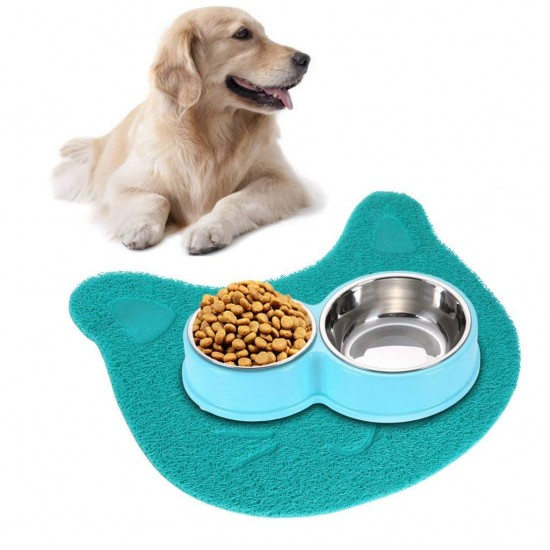 Dorapet Cat Face Print Dog Cat Litter Mat, Puppy Kitty Dish Feeding Bowl Placemat Tray Tidy Easy Cleaning Sleeping Pad -1 Piece Color May Vary