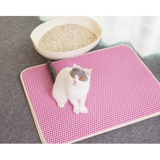 Cat Litter Mats Large Size 40 x 50cm Double Layer Litter Trapping Mat Waterproof Honeycomb Pads Non-Toxic Washable Cat Little Tray Pad (Color May Vary)