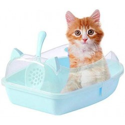 Cat Litter Tray with a Scoop High Quality Material Large Capacity Tray Size-55.8 x 40 x 22.8cm (Color May Vary)