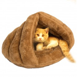 Dorapet Floss Fabric and Polyester Bed Warm House Sleeping Bag for Puppy Cat Dog Rabbit Small Animals (Color May Vary)
