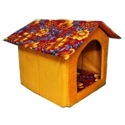 Dorapet Printed Foldable Velvet Fabric Puppy House for Dog Lovers (Medium, Color and Print May Vary)
