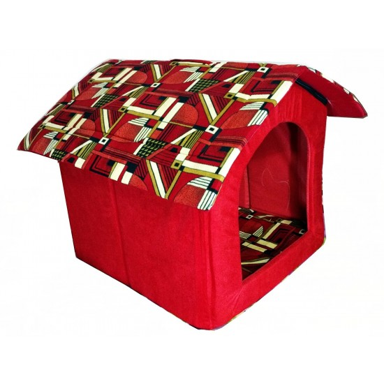 Dorapet Printed Foldable Velvet Fabric Puppy House for Dog Lovers (Small, Color and Print May Vary)