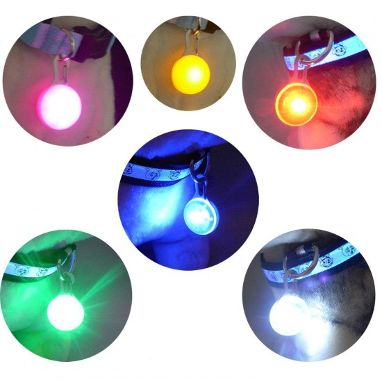 Dorapet Dogs Cats Night Light LED Flashing Round Ball Collar Pendant-1 Pcs (Color May Vary)