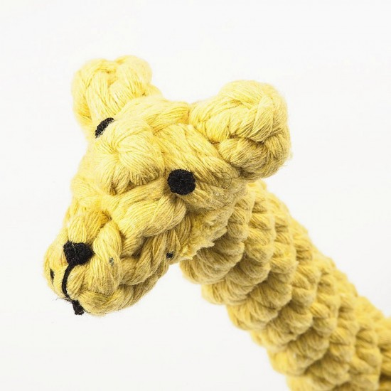 Durable Dog Chew Plush Rope Puppy Dental Teething Cleaning Chewing Molar Cotton Knot Clean Teeth Healthy Chew Fun Toy for Puppies (Color May Vary) (Giraffe)