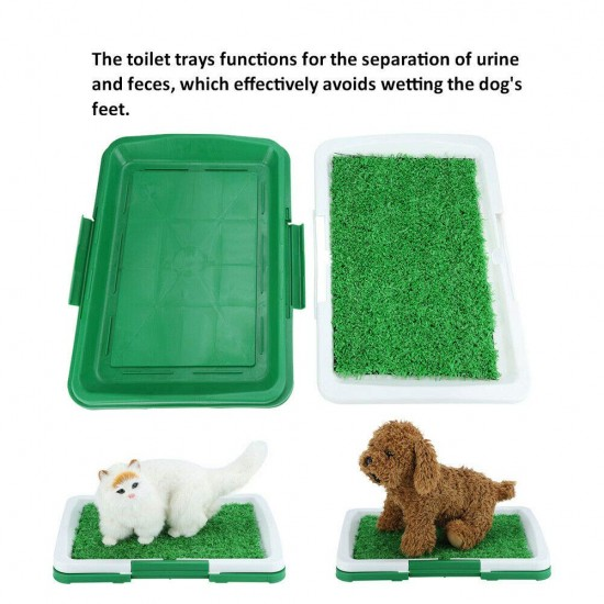 Pet Potty Training Pee Indoor Home Dog Grass Pad Mat Mesh+Collection Tray