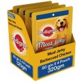 Pedigree Meat Jerky Adult Dog Treat, Barbecued Chicken (320 g, Pack of 4)