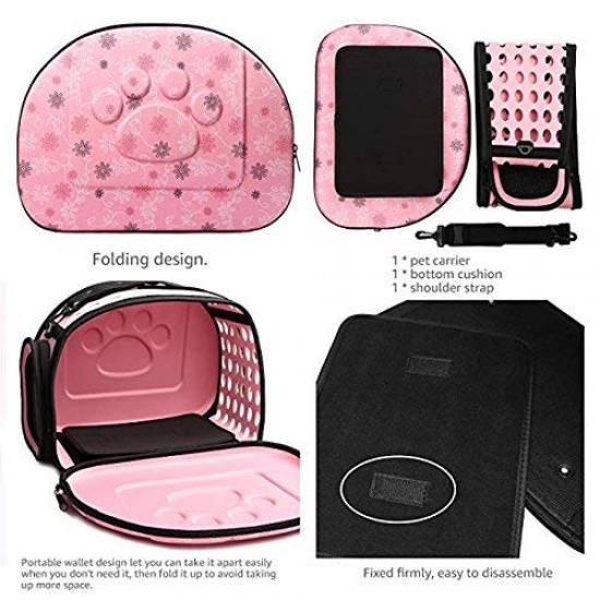 Dorapet Pet Carrier,Hard Cover Portable Tote Soft Breathable Comfort Transport Shoulder Bag for Small cat Dog - 42x26x32cm- (Color May Vary)